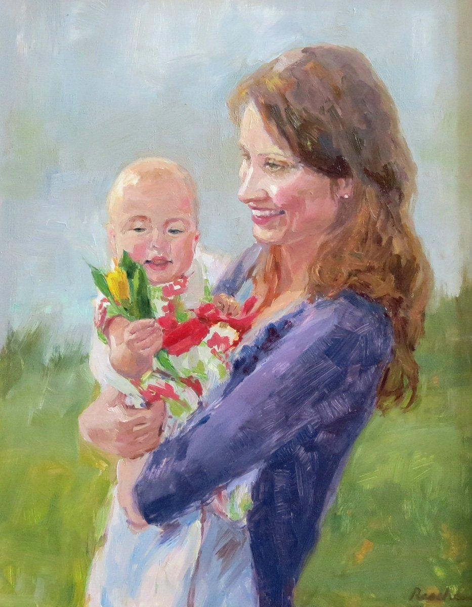 mom and baby portrait painting