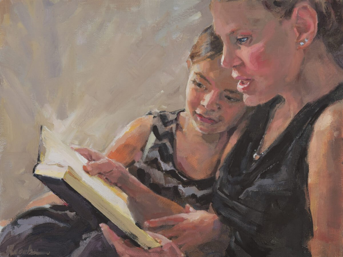 professional oil painter mom daughter painting